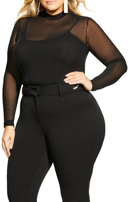 City Chic Provocative Sheer Long Sleeve Bodysuit