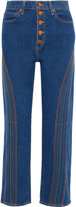Alice + Olivia Amazing Embroidered High-rise Straight-leg Jeans