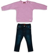 7 For All Mankind Girls' Zigzag Quilted Sweatshirt & Skinny Jeans Set - Baby