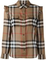 Burberry ruffle trim shirt - women - Cotton - 8