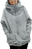Allegra K Winter Women Full Zip Hoodie Varsity Hoody Hooded Coat Light Grey L