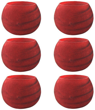 Galorehome Glass Candle Holders, Set of 6, Red Velvet