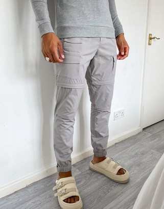 ASOS DESIGN tapered tech trousers with zip off legs