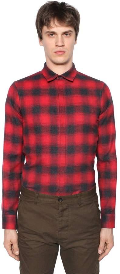 DSQUARED2 Plaid Cotton Flannel Shirt W/ Tie
