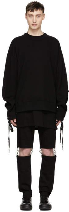 D.gnak By Kang.d Black String Sleeve Sweatshirt