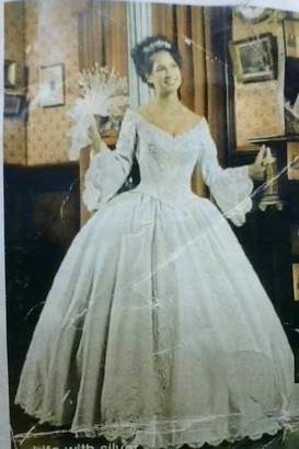 Mary's Bridal Ball Gown With Bell Sleeves In Ivory/Gold