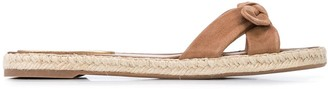 Tabitha Simmons Double Crossover Bow Suede Slides