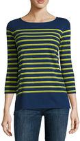 Liz Claiborne 3/4-Sleeve Button-Back Stripe Tee