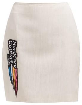 Marine Serre Applique-patch Moire Skirt - Beige