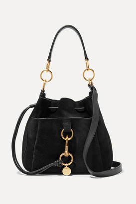 See by Chloe Tony Suede And Textured-leather Bucket Bag - Black