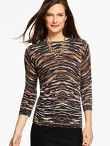 Talbots Cashmere Audrey Sweater - Animal Print
