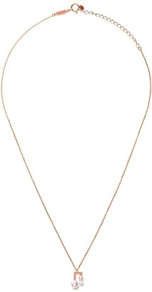 TASAKI 18kt rose gold petit Balance Note Collection Line Akoya pearl and diamond pendant necklace