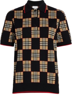 Burberry Jennifer Checkerboard Wool-Blend Polo Shirt