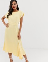 Closet London ribbed pencil dress with tie belt in lemon