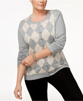 Charter Club Plus Size Embellished Argyle Cardigan, Only at Macy's