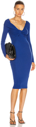Alexander McQueen Twist Long Sleeve Midi Dress in Sapphire Blue | FWRD