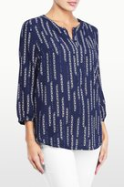 NYDJ Floral Dewdrops Bouquet Printed 3/4 Sleeve Blouse