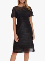 Thumbnail for your product : Gina Bacconi Millicent Lace Stripe Midi Dress, Black