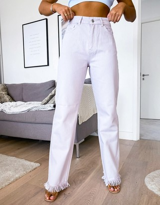 NA-KD high waisted straight leg jeans in dusty lilac