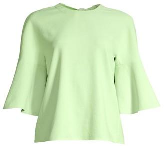 Tibi Chalky Drape Ruffle-Sleeve Blouse