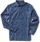 Murano Slim-Fit Spread Collar Jacquard Floral Long-Sleeve Sportshirt