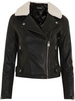Topshop Cream Collar Pu Biker Jacket