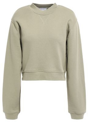 Current/Elliott Zip-detailed Cropped French Cotton-terry Sweatshirt