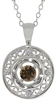 Gem Stone King 0.51 Ct Round Brown Smoky Quartz and White Diamond 14k White Gold Pendant