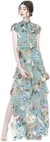 Alice + Olivia Lessie Tie Neck Ss Ruffle Dress
