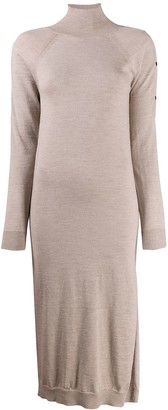 Semi-Couture Knitted Mock-Neck Dress