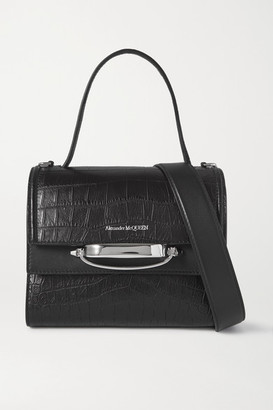 Alexander McQueen The Story Small Croc-effect Leather Shoulder Bag - Black