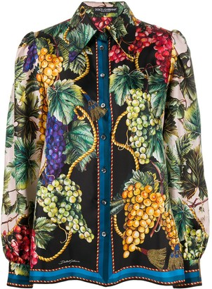 Dolce & Gabbana Fruit-Print Long-Sleeve Shirt