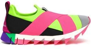 Dolce & Gabbana Ibiza Suede-trimmed Neon Neoprene Slip-on Sneakers