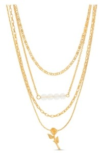 Kensie Women's Glass Beaded Bar And Flower Station Layered Chain Necklace