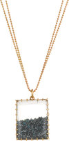 Renee Lewis Blue Diamond Shake Rectangular Pendant Necklace