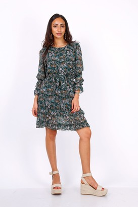Lilura London Green Long Sleeve Mini Dress In Chiffon Paisley Print