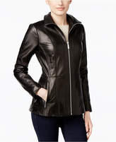 MICHAEL Michael Kors Leather Zip-Front Jacket, Only at Macy's