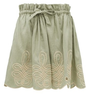 Innika Choo Min Easkurt Scalloped Linen Skirt - Light Green