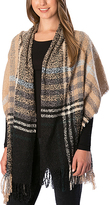 Pure Style Girlfriends Taupe Plaid Fringe Scarf