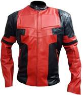 Classyak Men's Fashion Deadpool Real Leather Jacket Large