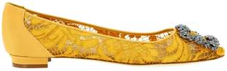 Manolo Blahnik Hangisi Ballet Flats In Lace With Smoky Rhinestone Buckle