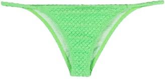 ACK Textured Logo-Print Bikini Bottoms