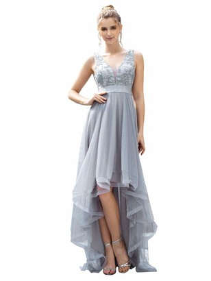 Ever Pretty Ever-Pretty Women's Deep V Neck High-Low Tulle Ball Gowns with Sequin Appliques Long Party Dresses Grey 16UK