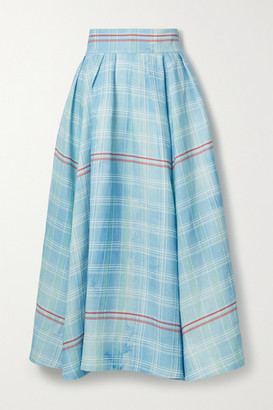 Rosie Assoulin Pleated Checked Linen Midi Skirt - Blue