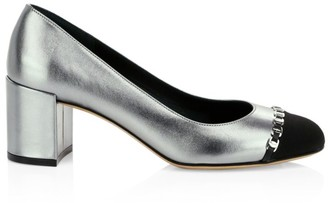 Salvatore Ferragamo Avella 2 Cap-Toe Metallic Leather Pumps