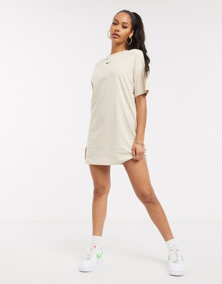 Nike mini swoosh oversized t-shirt dress in oatmeal