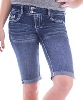 Amethyst Jeans Blue Denim Embellished-Pocket Lizzy Shorts - Plus
