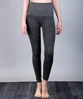 Lily Women's Leggings GREY - Dark Gray Herringbone Tummy-Control Band Leggings - Women