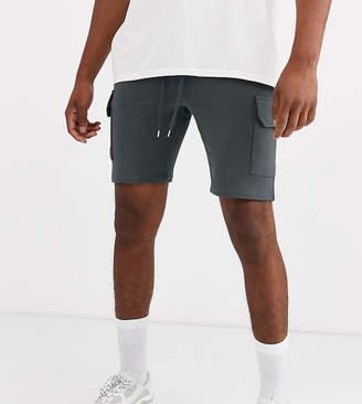 Asos Design DESIGN Tall jersey skinny shorts with cargo pockets in dark grey