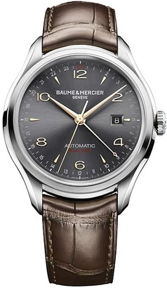 Baume & Mercier Clifton Dual Time Stainless Steel & Alligator Strap Watch